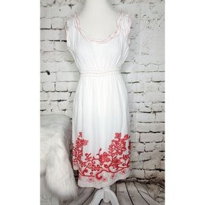 Max Studio White Cotton Embroidered Sundress XL